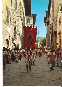 Cartolina AREZZO GIOSTRA DEL SARACINO corteo in VIA DE' PILEATI anni '70