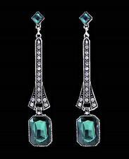 ART DECO Style Antiqued Silver Emerald Green Crystal Paste Drop Dangle Earrings
