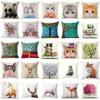 Cotton Linen Fashion Home Decor Throw Pillow Case Fox Sofa Waist Cushion Cover