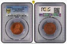1935(c) India British 1/4 Anna PCGS MS64RB (Red-Brown) Highly Sought Coin