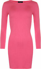 New Womens Long Sleeve Stretch Body con Ladies Plain Short Mini Dress Top 8-22