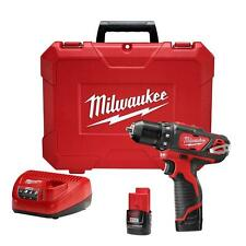 Milwaukee M12 12 Volt Lithium Li-Ion 3/8 in. Electric Cordless Drill Driver Kit