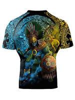 Raven Fightwear Men's Huitzilopochtli Aztec Short Sleeve Rash Guard MMA BJJ Blac