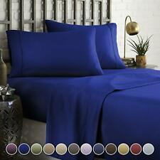 Attached Waterbed Sheet Set - Soft Egyptian Cotton 1000 TC Royal Blue Solid