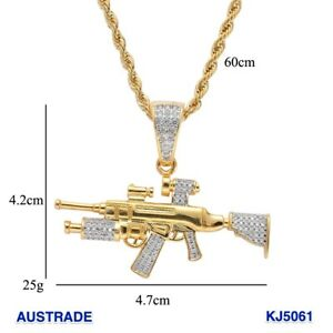 Hip Hop Gun Pendant Copper Micro pave with CZ stones Necklace Jewelry