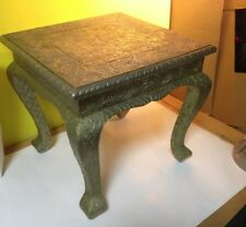 Vintage Square Accent Side Table ~ Embossed Silver  Metal Top , Legs , Overall