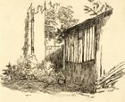 Harold Hope Read, Potting Shed, Greenhouse – Original 1920s pen & ink drawing