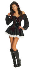 Ladies PLAYBOY SKULL PIRATE Costume Velvet Dress w/ Petticoat Adult Large 14 16