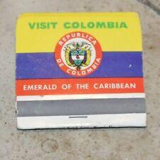 VISIT COLOMBIA Tourist Pretty Lady NATIONAL TOURIST BUREAU Matchbook