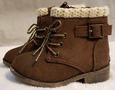 Baby-Infants Girls BROWN WINTER FASHION BOOTS Crochet Trim LACE UP ZIPPER Size 6