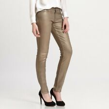 NEW 7 For All Mankind The Skinny Gold Metallic Coated Legging Skinny Jeans 24x31
