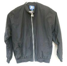 Vintage 90s Starter Windbreaker Jacket Blank Black Full Zip Size Medium