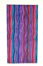 POCKET SQUARE Purple Lavender Wave Stripe Flat Top - pre-folded & Sewn