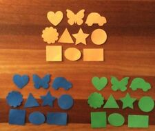 "30 x FOAM SHAPES ""PACK 1 BLUE, ORANGE, GREEN"", 3 colours, 10 shapes"