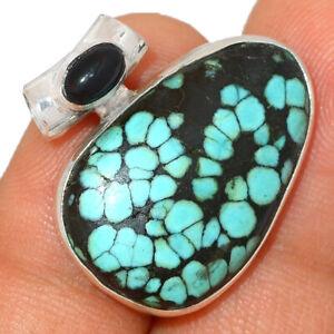 Natural Tibetan Turquoise & Black Onyx 925 Silver Pendant Jewelry BP48125