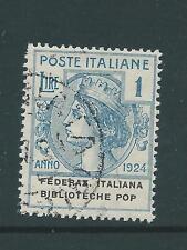 ITALY 1924 POP 1LIRA USED SASS 37 CAT E275 NICE