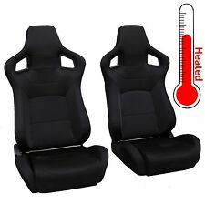 Pair front seats HEATED Black SVX style reclining bucket for Land Rover Defender