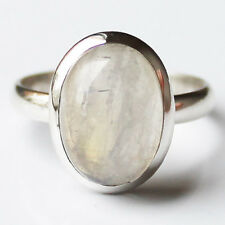 100% 925 Solid Sterling Silver Oval Moonstone Stone Ring - Size 8