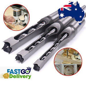 3Pc Square Hole Drill Bit Mortising Woodworking Saw Mortise Chisel Drill Bit AU