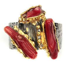 Exquisite Natural 17x4 Mm Top Rich Red Coral 925 Sterling Silver Ring Size 8.5