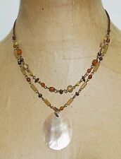 "Signed NY New York Brown Mother of Pearl Glass Beads Pendant 18"" Necklace"