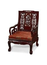 Rosewood Arm Chair, Hand Crafted Imperial Dragon Motif in Floral Mother Pearl