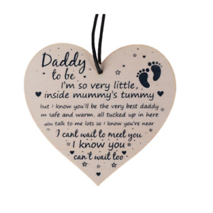 Daddy To Be Gift Plaque Keepsake I Cant Wait To Meet You. New Baby Best Dad