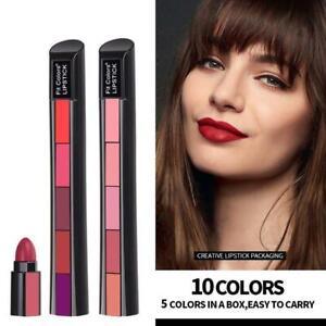 5 Colors in 1 Mini Lipstick Brown Matte Non-stick Waterproof Velvet Lipstick
