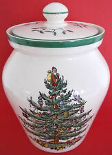 SPODE ENGLAND CHRISTMAS TREE AIRTIGHT LIDDED JAR POT MISTLETOE HOLLY UNUSED
