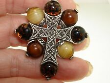 Silver Celtic Cross Pin/Pendant! Vintage Miracle Polished Agate