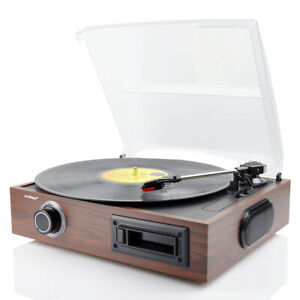 Refurbished mbeat USB-TR08 Retro Turntable and Cassette Record Player - Brown