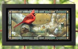 Marjolein Bastin Cardinal and Sycamore Framed Stained Glass Window Panel