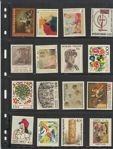 FRANCE NICE LOT OF 31 PAINTINGS AND ART STAMPS - MINT OG NEVER HINGED 2 PICTURES