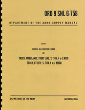ORD 9 SNL G-758 ~ List of All Service Parts ~ M38A1 Jeep Manual ~ Reprnt
