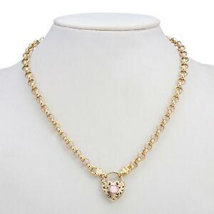 18K Yellow Gold GL Women's Solid Medium Belcher Necklace & Pink Filigree Heart