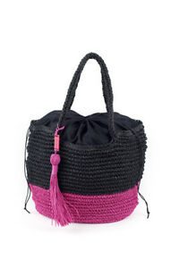 Benetton trendy two colour paper straw women's beach summer handbag