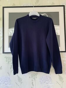 Mens Navy 100% Lambswool Jumper From GLENMUIR - Size M