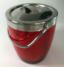 Casamoda Ice Bucket Red Chrome Aluminum Acrylic Double Walled See Through MCM
