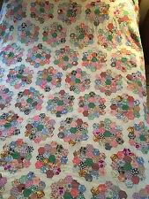 Antique Vintage Grandma's Flower Garden Quilt Top Hand Stitched 76x76 Twin