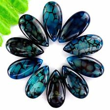 10Pcs Black & Blue Dragon Veins Agate Teardrop Pendant Bead 30*15*6mm AE878