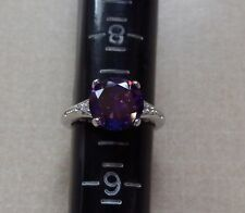 NWT RING Solitaire &Accents Amethyst Simulated Diamonds Sz 7 Sterling Silver 925
