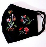 Mascarilla Higiénica Tela Doble Capa Algodón flores bordadas vintage