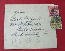 Germany 1923 Inflation Era Wrapper to Philadelphia Pennsylvania