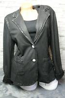 Italy Blazer Jacke schwarz Vintage Gr. 36 38 40 42 44 Leder Look blogger NEU