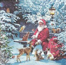 Lot de 4 Serviettes en papier Père Noël Animaux Decoupage Collage Decopatch
