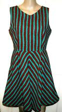 NEW COLLECTION LONDON GREEN & RED STRIPED SKATER DRESS SIZE 10 #  195