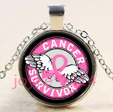 Wing Beat Breast Cancer Cabochon silver Glass Chain Pendant Necklace #4235