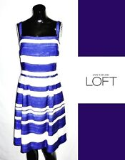 ANN TAYLOR LOFT Blue White Striped Dress 8