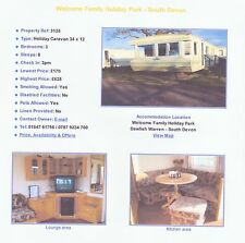 Caravan,Villa,Chalet,Sleeps 6/8 4 Hire@ Welcome Family holiday park Dawlish