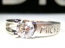 7/ O  AUTH DISNEY MICKEY 1CT SOLITAIRE STERLING SILVER PLATINUM CLAD BAND RING